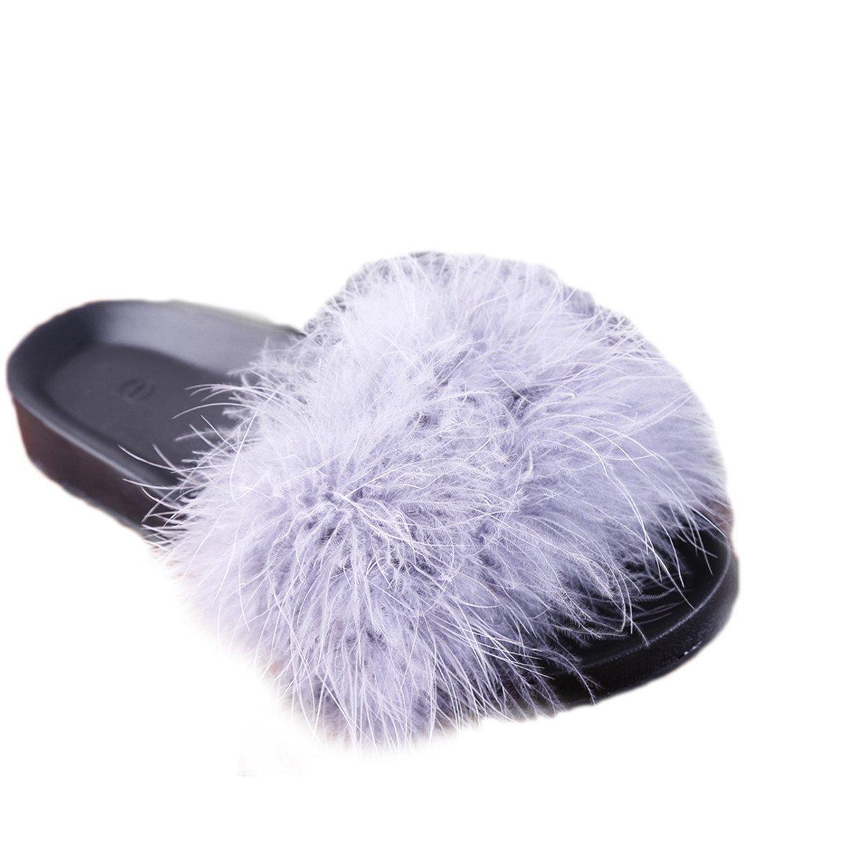 Lalang Frauen Schouml;n Gefieder Mouml;bel Schuhe Sandalen Slipper im Freien Flip-Flops Sandalen  44 EU|Grau