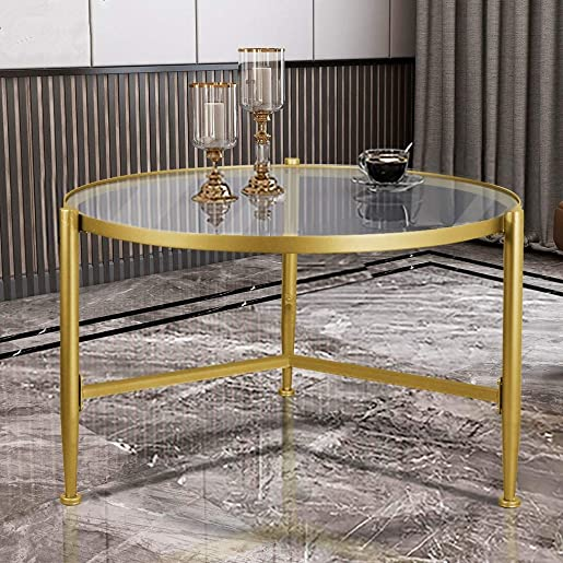 FINECASA Metal Glass Coffee Table