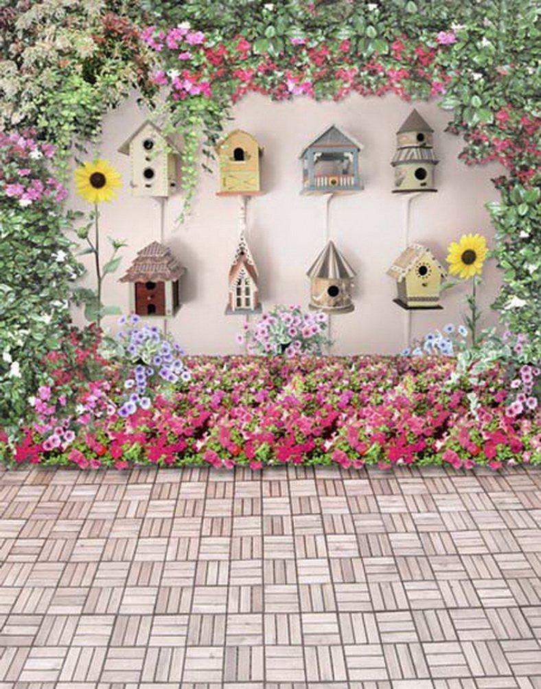 レンガ床カラフル花鳥かご写真Backdrops写真小道具Studio背景5 x 7ft   B01G85IF70