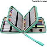 BTSKY Deluxe PU Leather Pencil Case For Colored Pencils - 120 Slot Pencil Holder (Green)