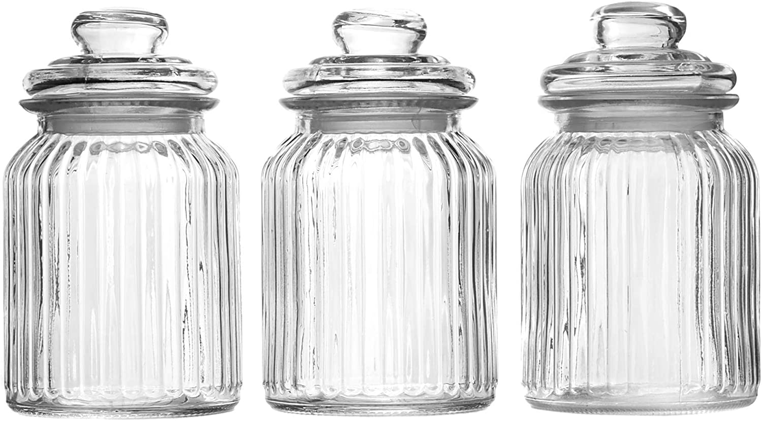 Set of 3 Vintage Airtight Glass Jars Coffee 990ml M/&W Ideal for Tea Traditional Sweet Jar Style Storage Containers Sweets and More