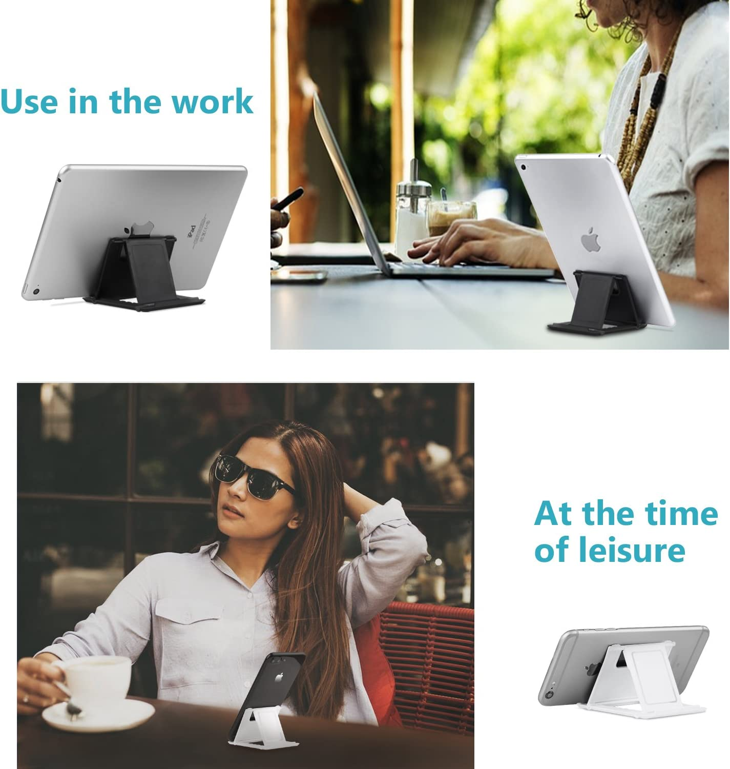 Fynix Adjustable Cell Phone Stand for Desk 2Black+2White Foldable Tablet Stand and Universal Mobile Phone Holder 4 Pack