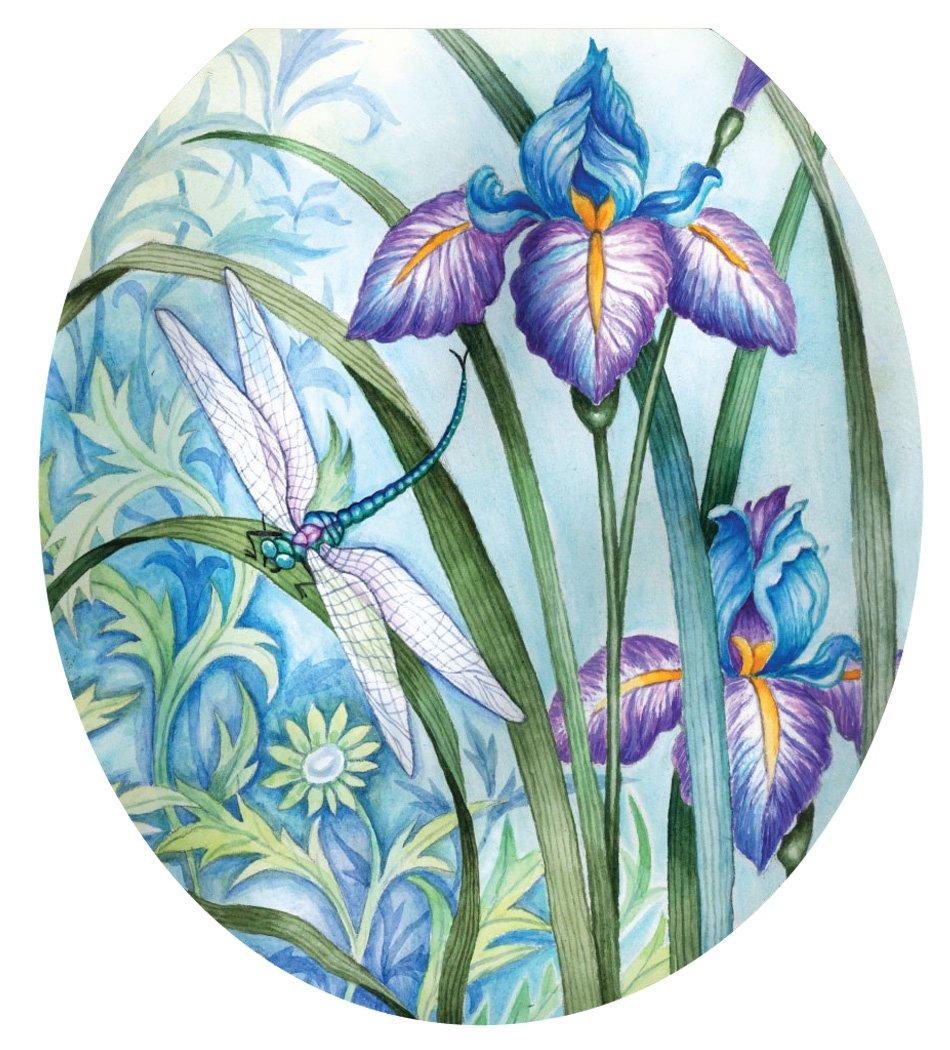 Toilet Tattoos TT-1014-R Iris Beauty Decorative Applique for Toilet Lid, Round