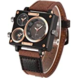 Oulm 3595 Mens Watch Analog Coffee Leather Strap 3 Sub-dials