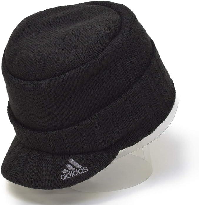 アディダス(adidas) ツバ付き ニット帽 ロゴ ビーニー ニットキャップ ニット帽 KNIT CAP ワッチ メンズ レディース 防寒 (01  ブラック) edc0aa46bc70