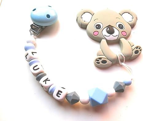 Cadena de chupete personalizada chupetero con nombre y mordedor Koala detalles party baby: Amazon.es: Bebé