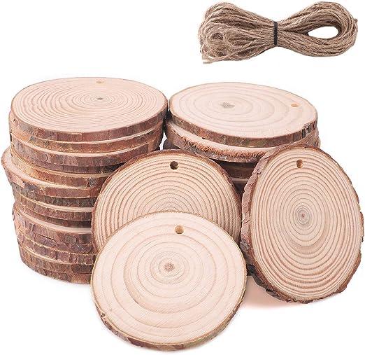 12 Stk Holzscheiben HÄNGER 7cm WW Baumscheiben Holz Scheibe Holzscheibe
