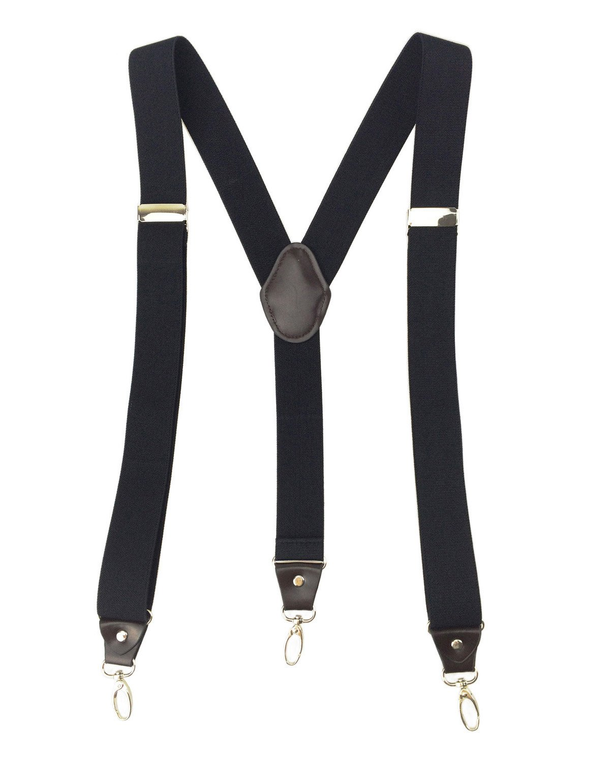 Romanlin Mens Suspenders for Work 3 Swivel Hook Clips Y-back Leather Crosspatch for Groomsmen Black 3.5cm Width
