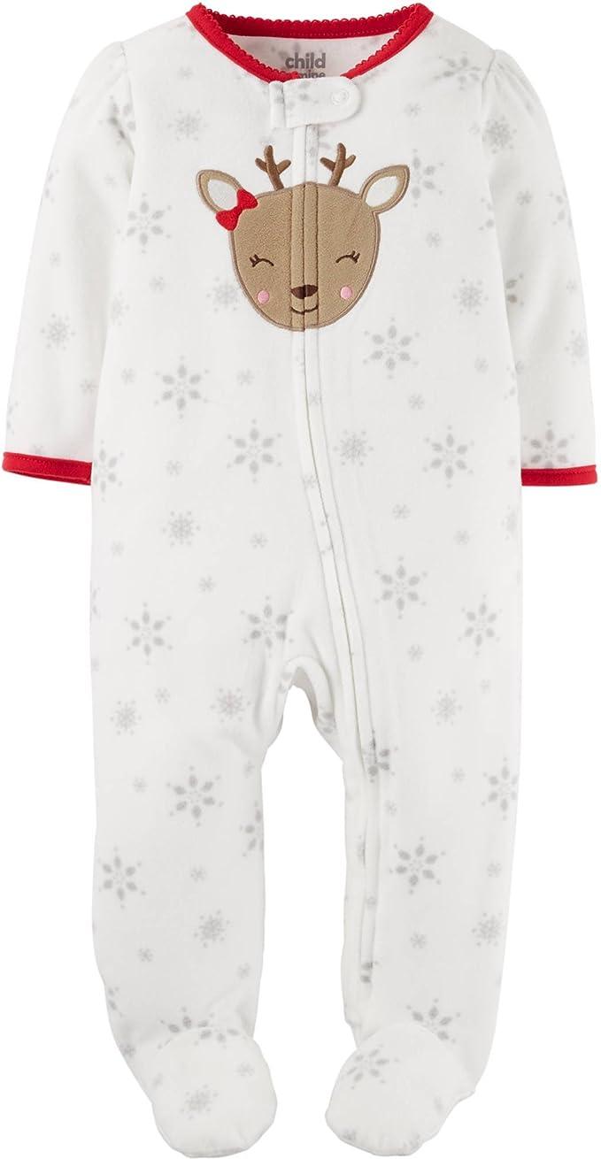 New Baby Girl 3 month Reindeer Sleep Play Just One Carters Christmas Foot Pajama