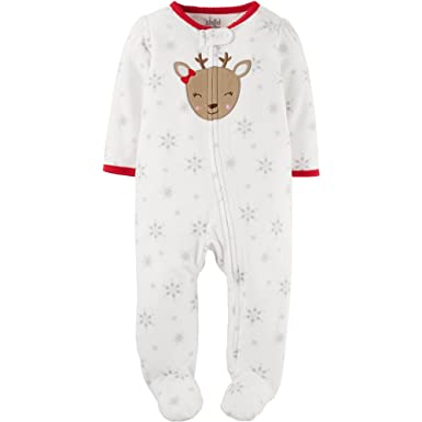 Amazon.com  Child of Mine Carters Infant Girls White Fleece Reindeer  Sleeper Holiday Sleep   Play  Clothing 169965366