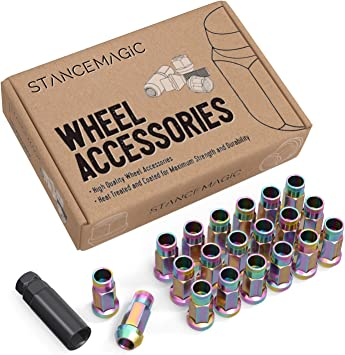 Muteki SR48 M12 X 1.25 Open End Acorn Wheel Lug Nuts 20pcs Black for WRX STi