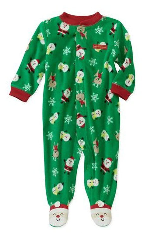 Strampler Einteiler Fleece Weihnachten Schlafanzug US SIZE newborn boy Junge grün Frühchen