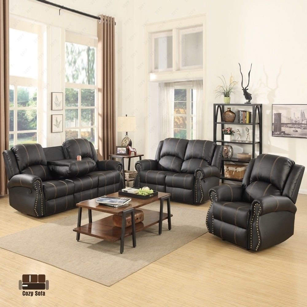 mecor 3-Stck Wohnzimmer-Sofagarnitur, Relaxcouch Loungesofa 3-Sitzer-Sofa, 2-Sitzer-Sofa, 1-Sitzer-Sofa, PU-Ledersofa mit Goldfaden/schwarz