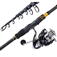 Sougayilang Fishing Rod, Carbon Fiber Spinning & Casting Rod, Telescopic Fishing Pole Designed for Bass, Trout, Salmon…