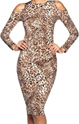 fc675e1c863a Simply Savvy Co USA - Slim Leopard Cheetah Animal Print Midi Dress Gown for  Women