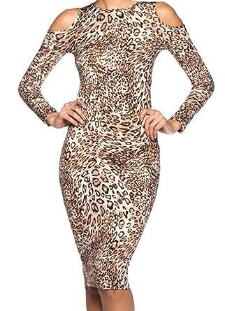 d977be32524 Simply Savvy Co USA - Slim Leopard Cheetah Animal Print Midi Dress Gown for  Women
