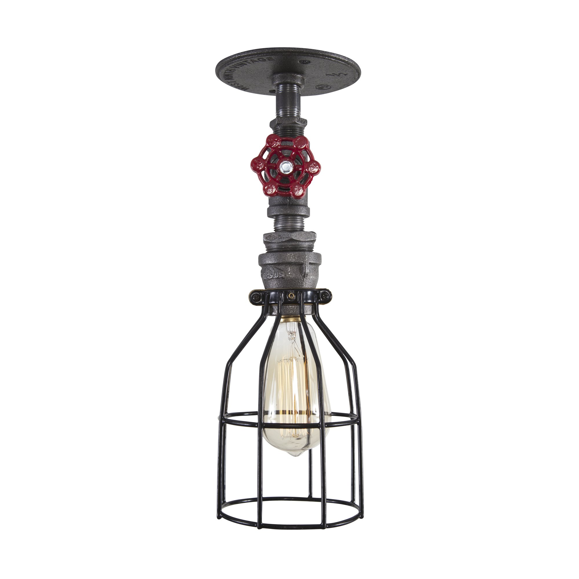 West Ninth Vintage Steel Single Ceiling Farmhouse Light w/Red handle and Cage