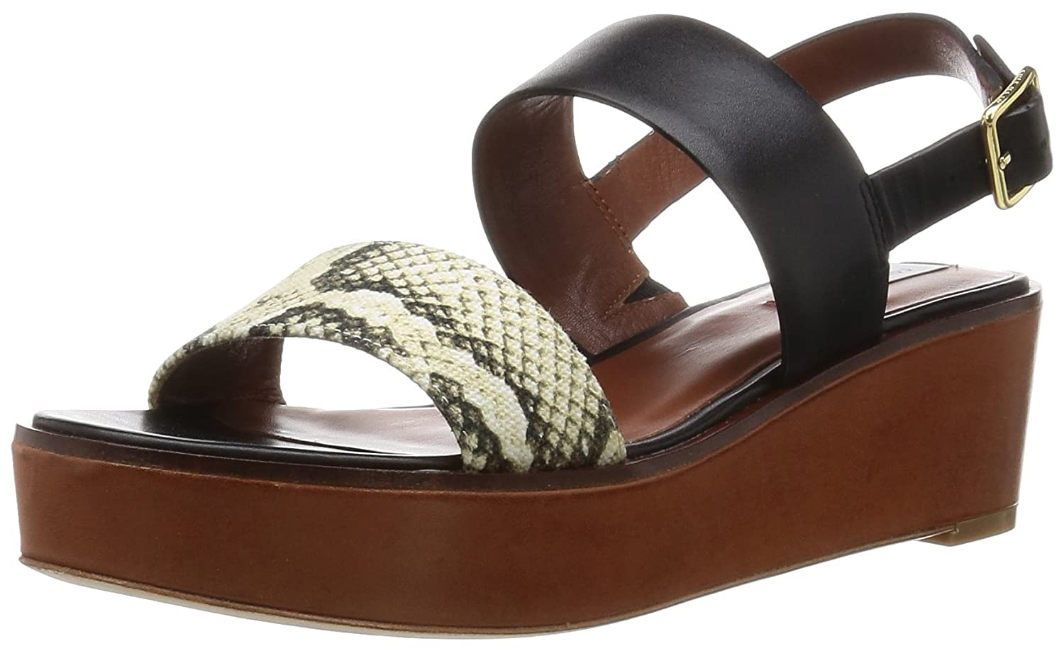 Cole Haan Women's Cambon Platform Dress Sandal B01A8HLOAY 9 B(M) US|Black Leather/Roccia Snake Canvas/Acorn Suede
