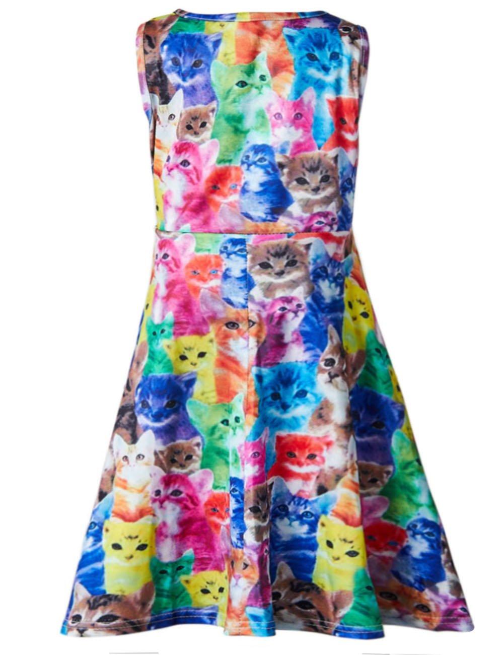 Leapparel Little Girls Dress Sweet Print Colorful Cats Pattern Sleeveless Dress Rainbow 4T