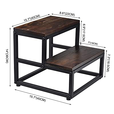 Dark Walnut ECROCY Wooden Bedside Step Stool Indoor /& Outdoor Mobility Step Stool 16.5 Inches x 11.8 Inches x 6.3 Inches Portable One Step Stool