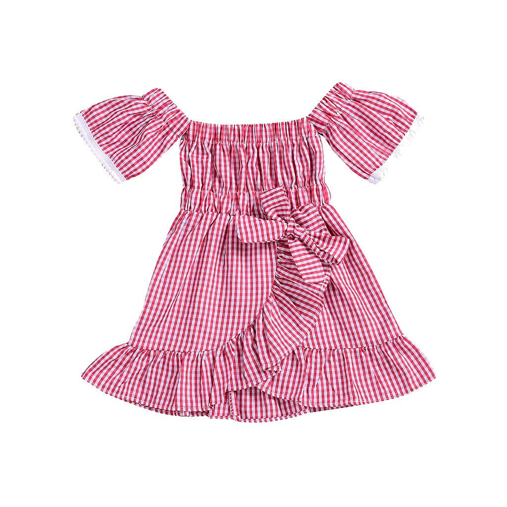 Off Shoulder Dress Summer,Toddler Baby Girls Off Shoulder Plaid Print Dress Lace Ruffles Dresses Clothes,Baby Girls' One-Piece Rompers,Multicolor,12-18M Red