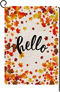 BLKWHT 152804 Hello Fall Maple Leaves Small Garden Flag Vertical Double Sided 12.5 x 18 Inch Autumn Burlap Yard Outdoor Decor