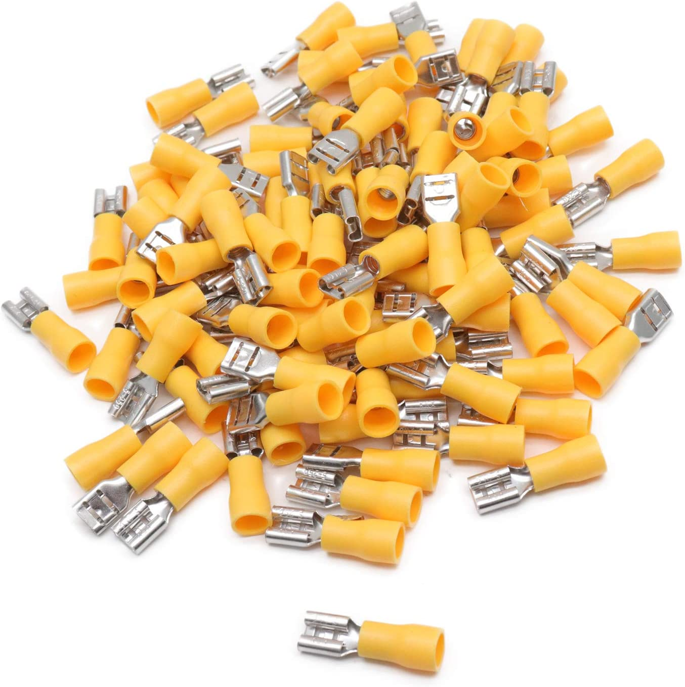 6.3mm Crimp Terminals Tab Male YELLOW and Fully Insulated Female Spade
