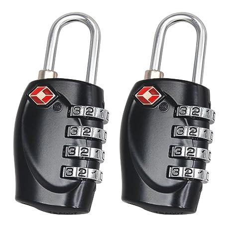 TRIXES 2 cadenas noirs certifiés TSA à combinaison 4 chiffres de voyage  pour valises ddbcac98261