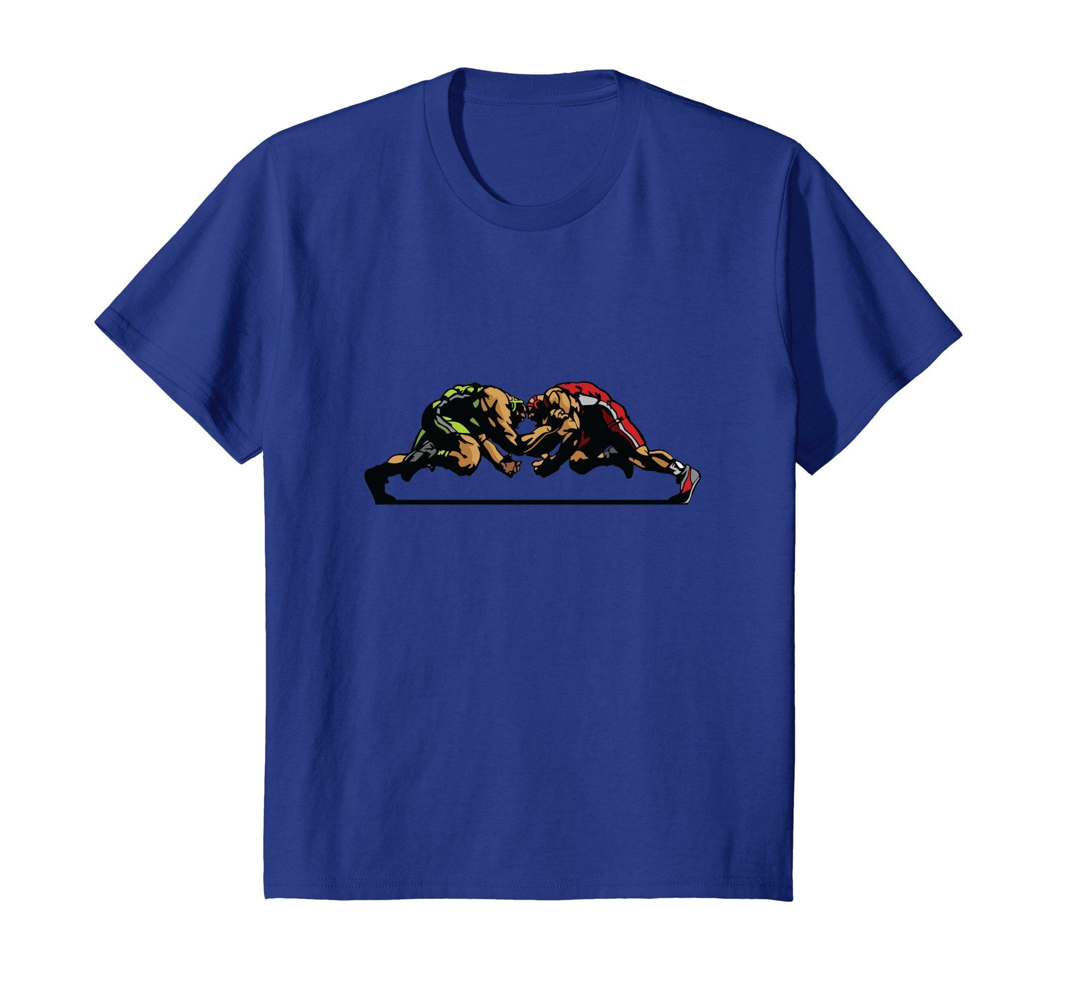 Kids Wrestling shirt 8 Royal Blue