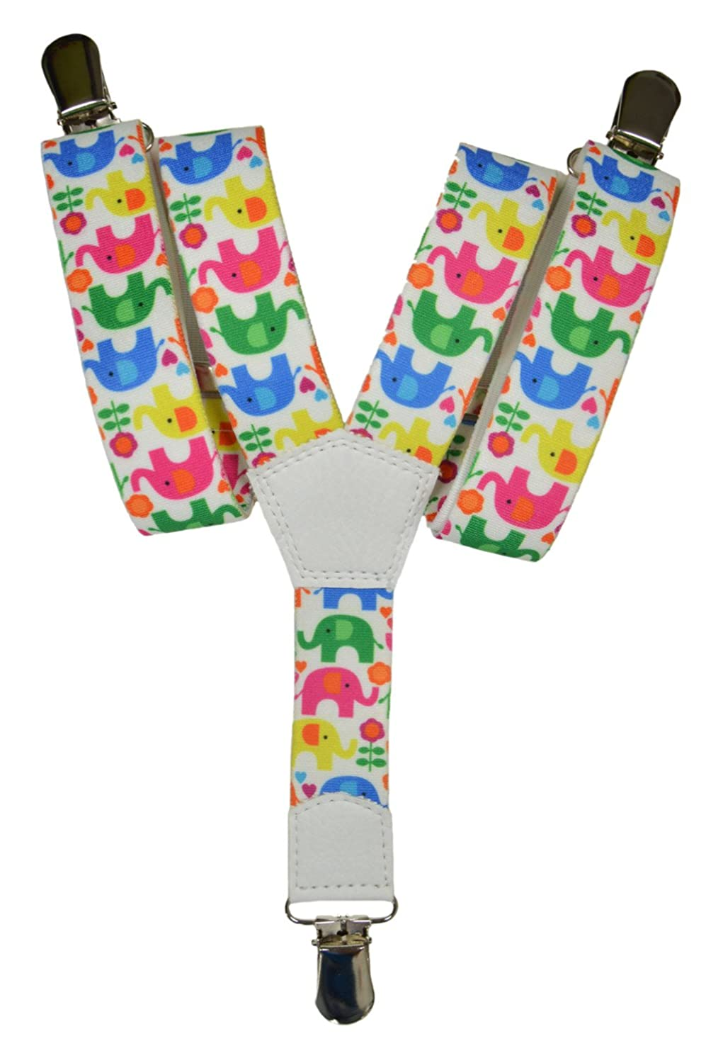 Childrens 1-5 Years Elasticated Clip on Braces / Suspenders with Elephant Design KIDSBRACESJeleph-black