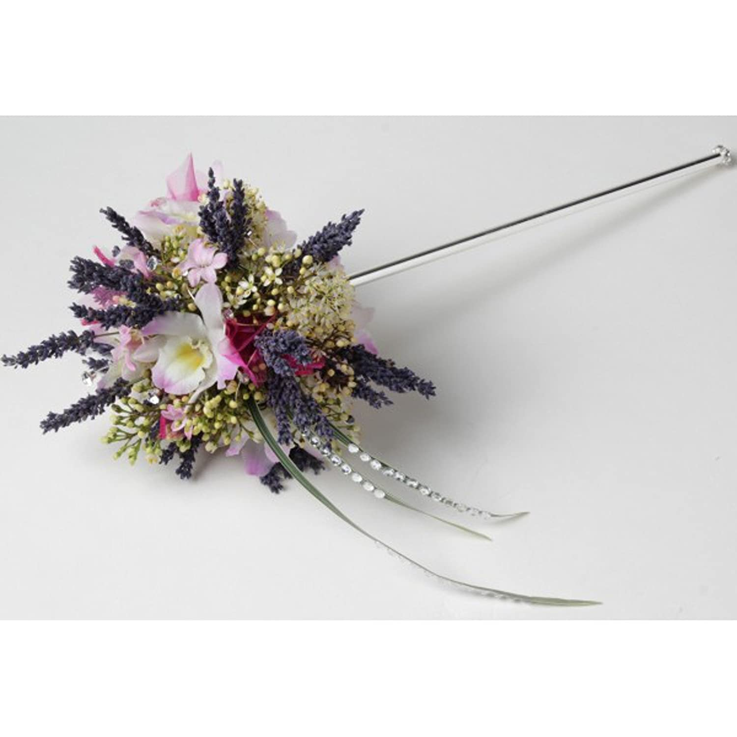 Lotus Wand Corsage Creations 35cm long Silver