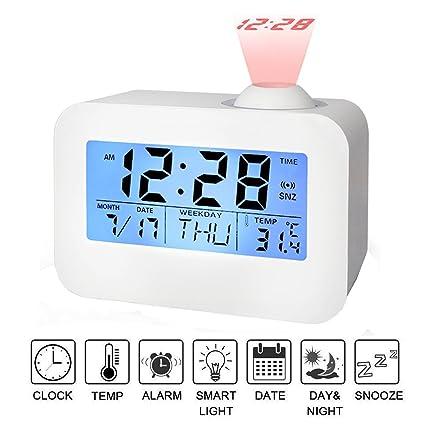 Despertador Proyector, SUAVER Reloj Silencioso con control de voz LED Luz de fondo/Función