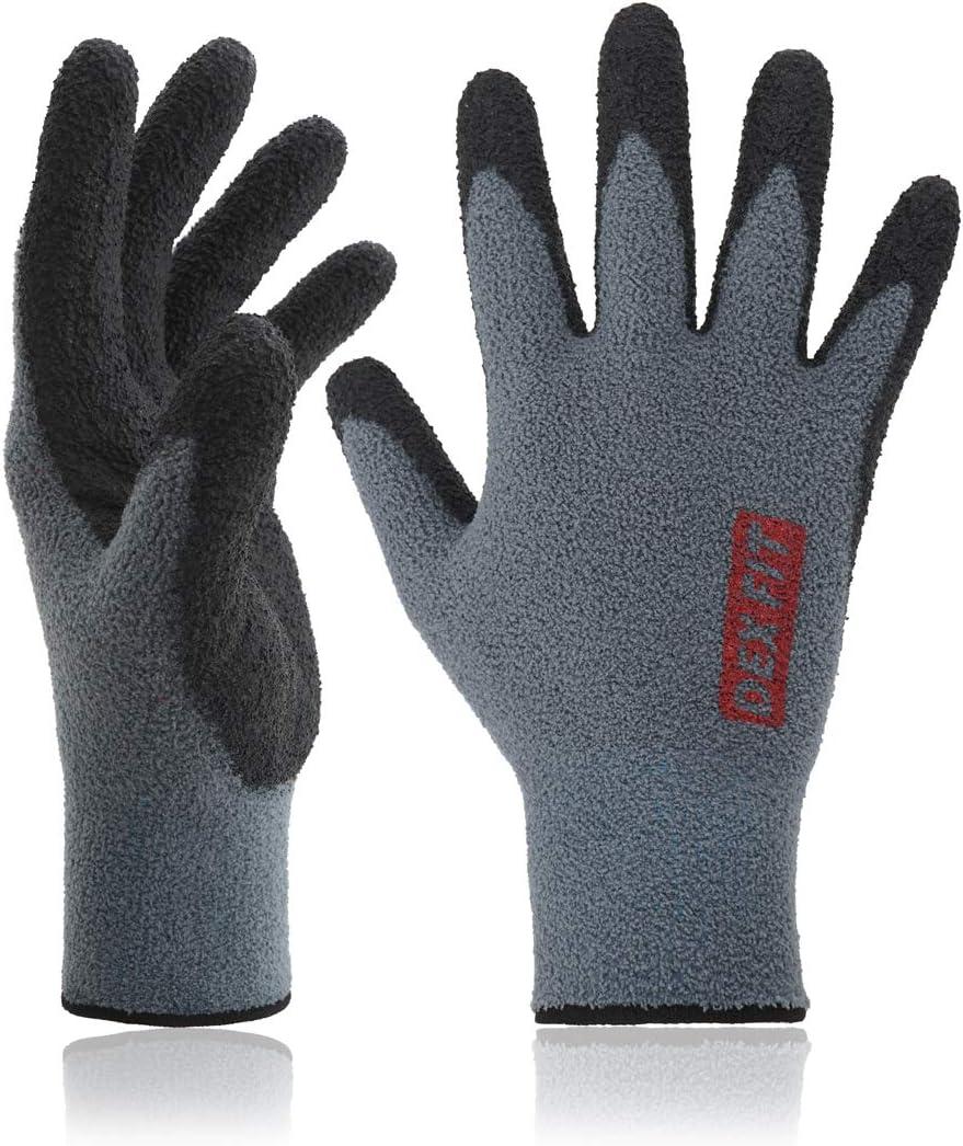 DEX FIT Warm Fleece Work Gloves NR450, Comfort Spandex Stretch Fit, Power Grip, Lightweight & Thin, Durable Water Based Nitrile Rubber Coating, Machine Washable, Grey Medium 3 Pairs