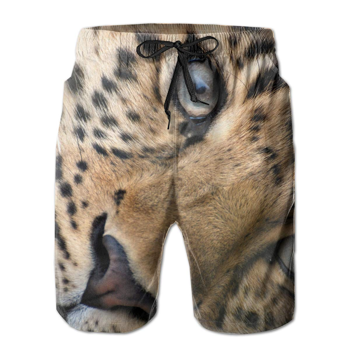 SINOVAL Leopard face Eyes Big cat Mens Summer Swim Trunks 3D Graphic Quick Dry Funny Beach Board Shorts with Mesh Lining