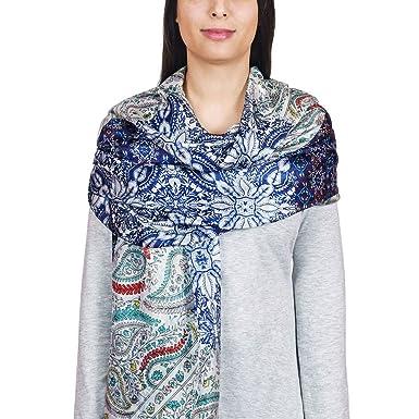 e33ff6e44584 Allée du foulard Etole soie Manolas Bleu  Amazon.fr  Vêtements et ...