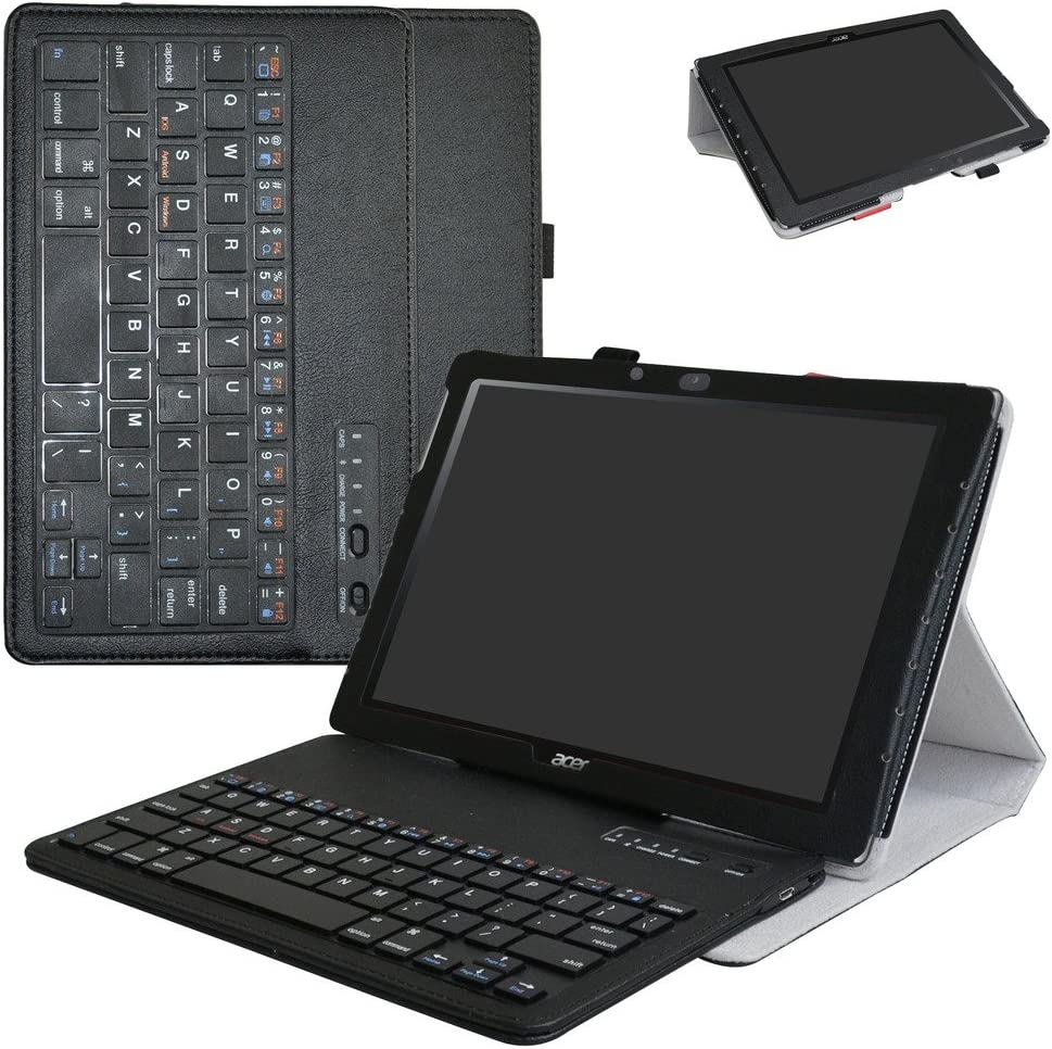 """Acer Iconia One 10 B3-A40 Wireless Keyboard Case,Mama Mouth Slim Stand PU Leather Cover with Romovable Wireless Keyboard for 10.1"""" Acer Iconia One 10 B3-A40 Android Tablet,Black"""