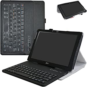 "Acer Iconia One 10 B3-A40 Wireless Keyboard Case,Mama Mouth Slim Stand PU Leather Cover with Romovable Wireless Keyboard for 10.1"" Acer Iconia One 10 B3-A40 Android Tablet,Black"