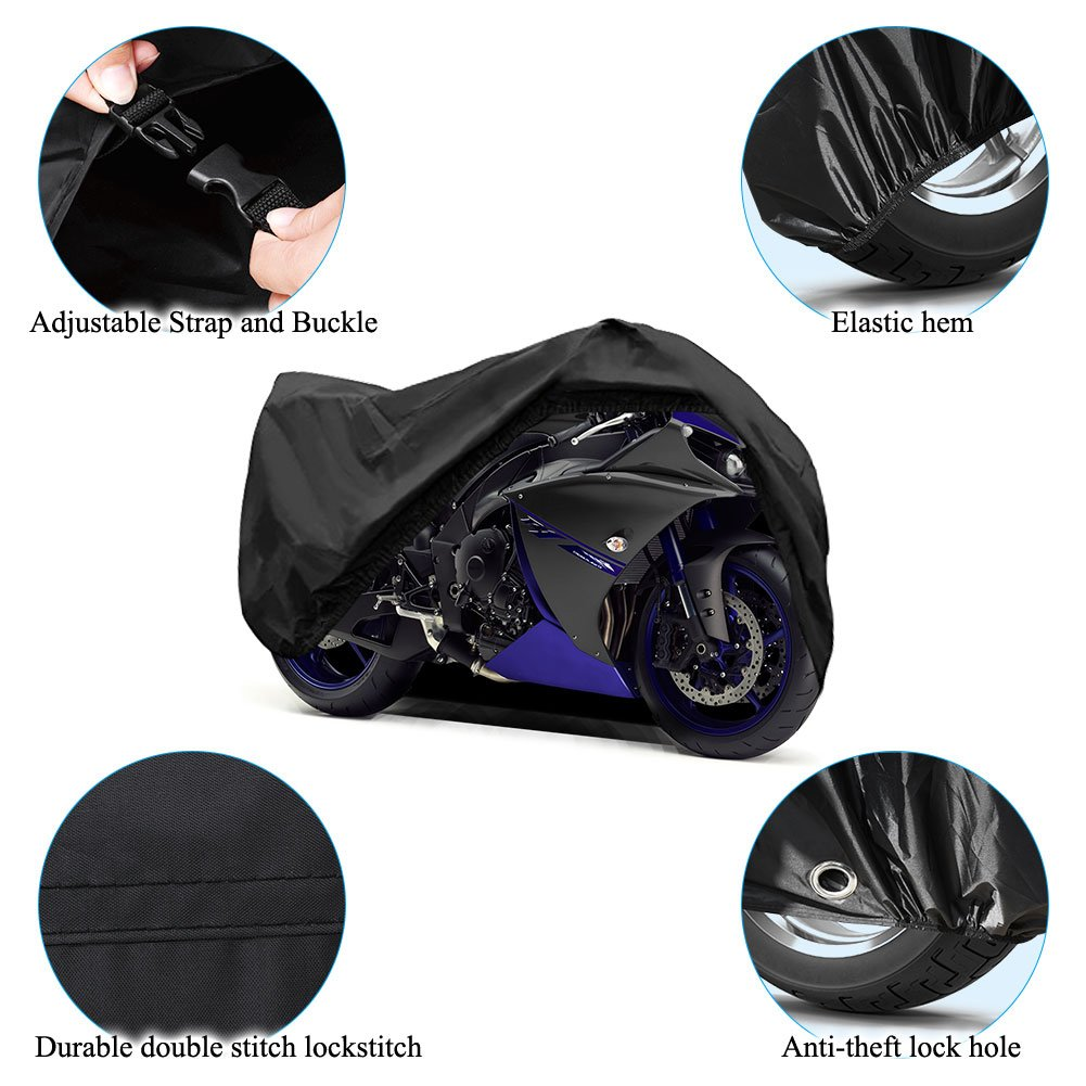 Motorcycle Cover Universal Fit Oxford Fabric Waterproof Breathable Rain Sun UV Dust Outdoor All Weather Protection with Lock Hole (Fits Motorbike up to 96'', Black) by LEDKINGDOMUS (Image #6)