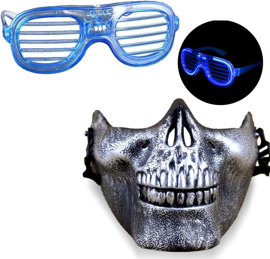 Halloween Máscara LED Luz Gafas Novedad Juguetes Horror Half Face Skull Masks Cosplay Party Disfraz Nightclub Props para Hombres Y Mujeres (Azul): Amazon.es: Juguetes y juegos