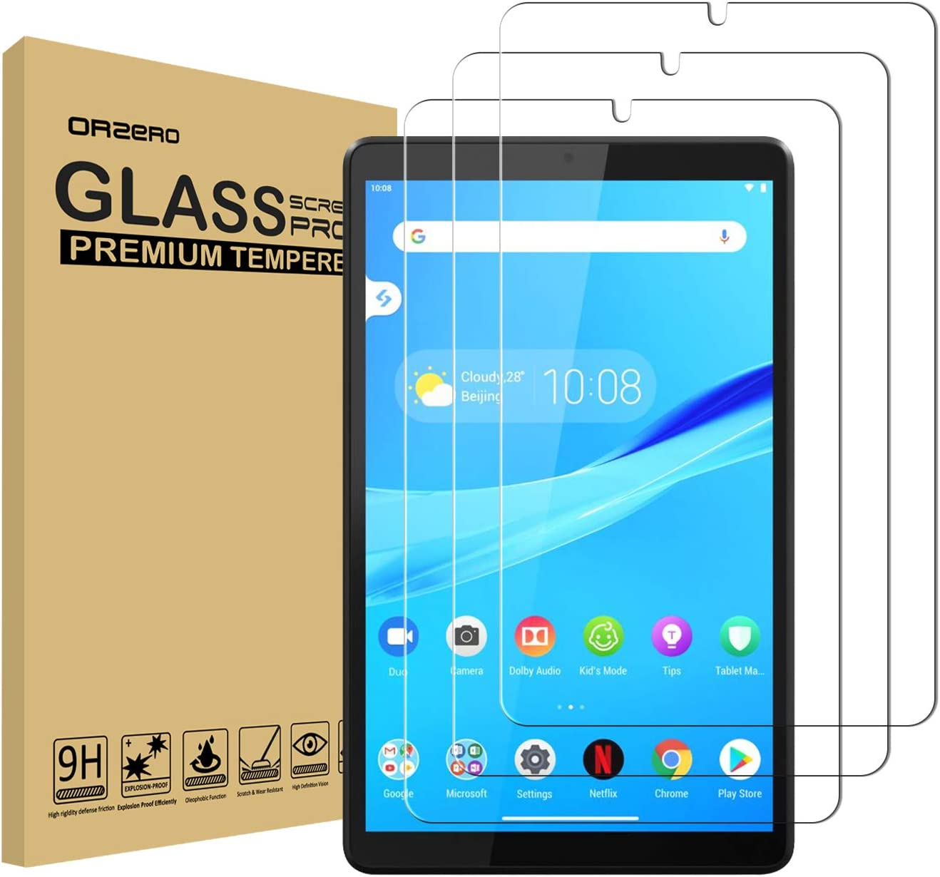 (3 Pack) Orzero Compatible for Lenovo Tab M8 (8 inch) Tempered Glass Screen Protector, 9 Hardness HD Anti-Scratch Full-Coverage (Lifetime Replacement)
