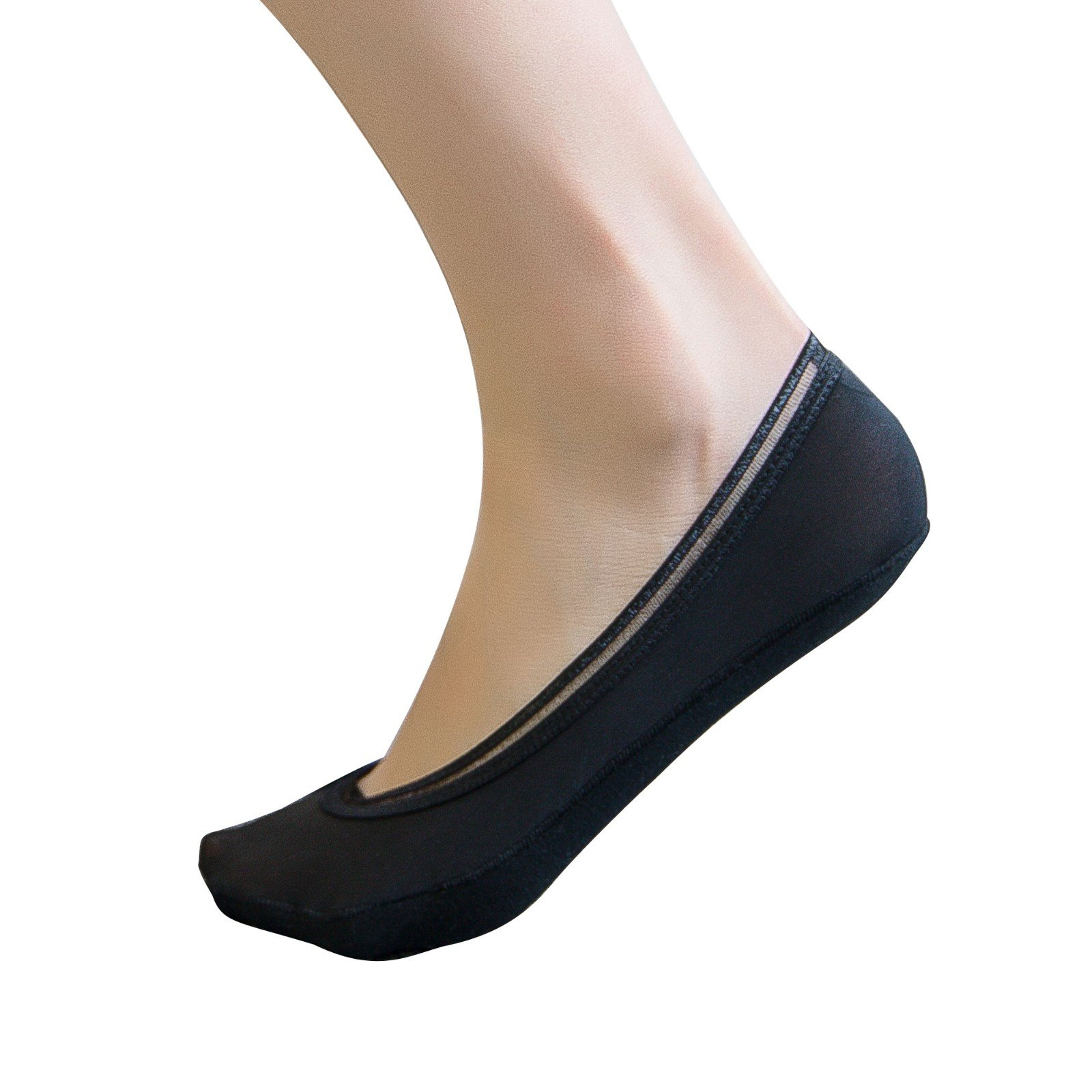 Beauty7 Women 5 Pairs Invisible No Show Thin Liner Socks Non Slip Silicone Grip Heel & Bottom Cotton Low Cut Boat Line Black