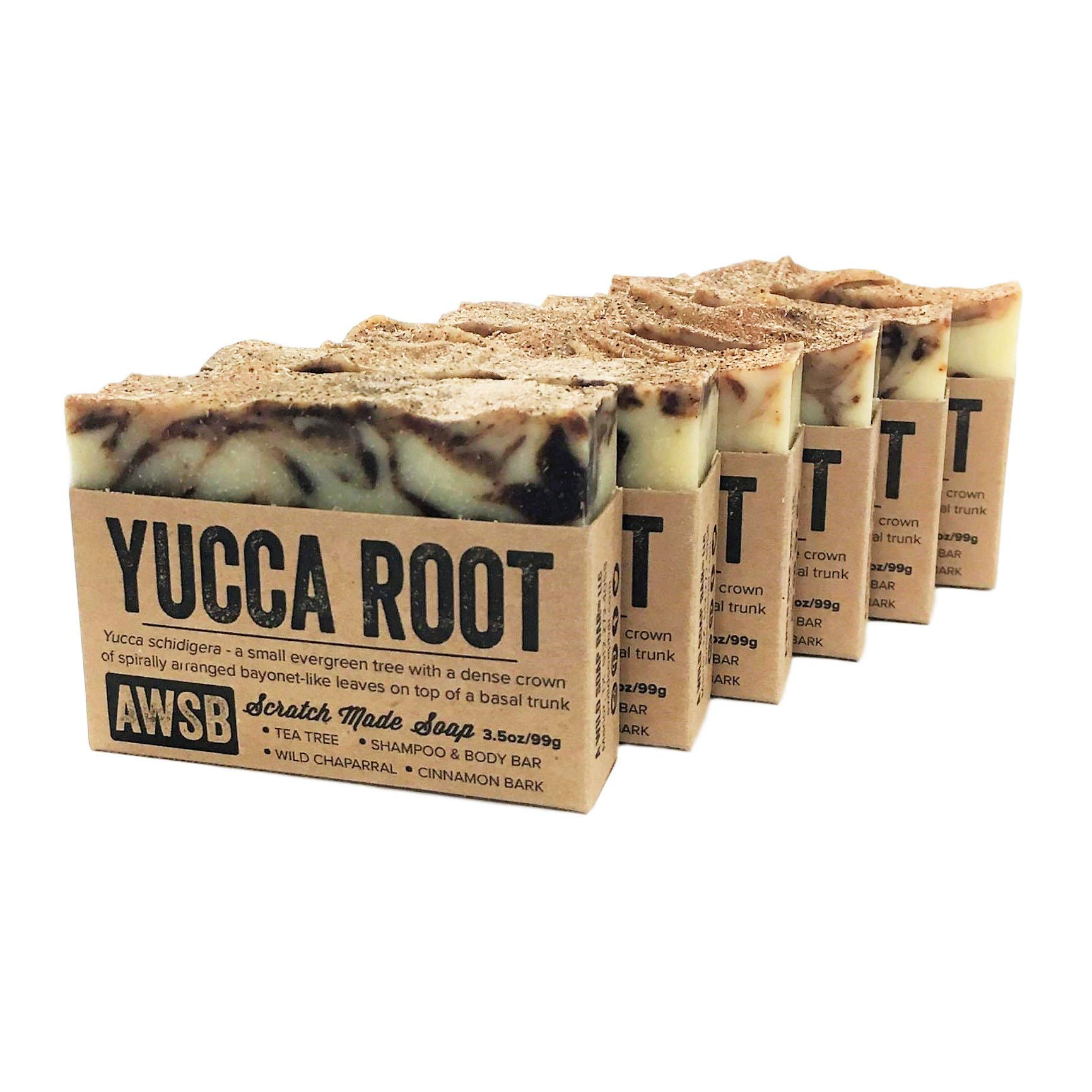 (6 Pack) Yucca Root Shampoo & Body Bar Soap with Tea Tree Oil, Vegan, All Natural with Organic Ingredients, Handmade by A Wild Soap Bar (6 pack) by A Wild Soap Bar