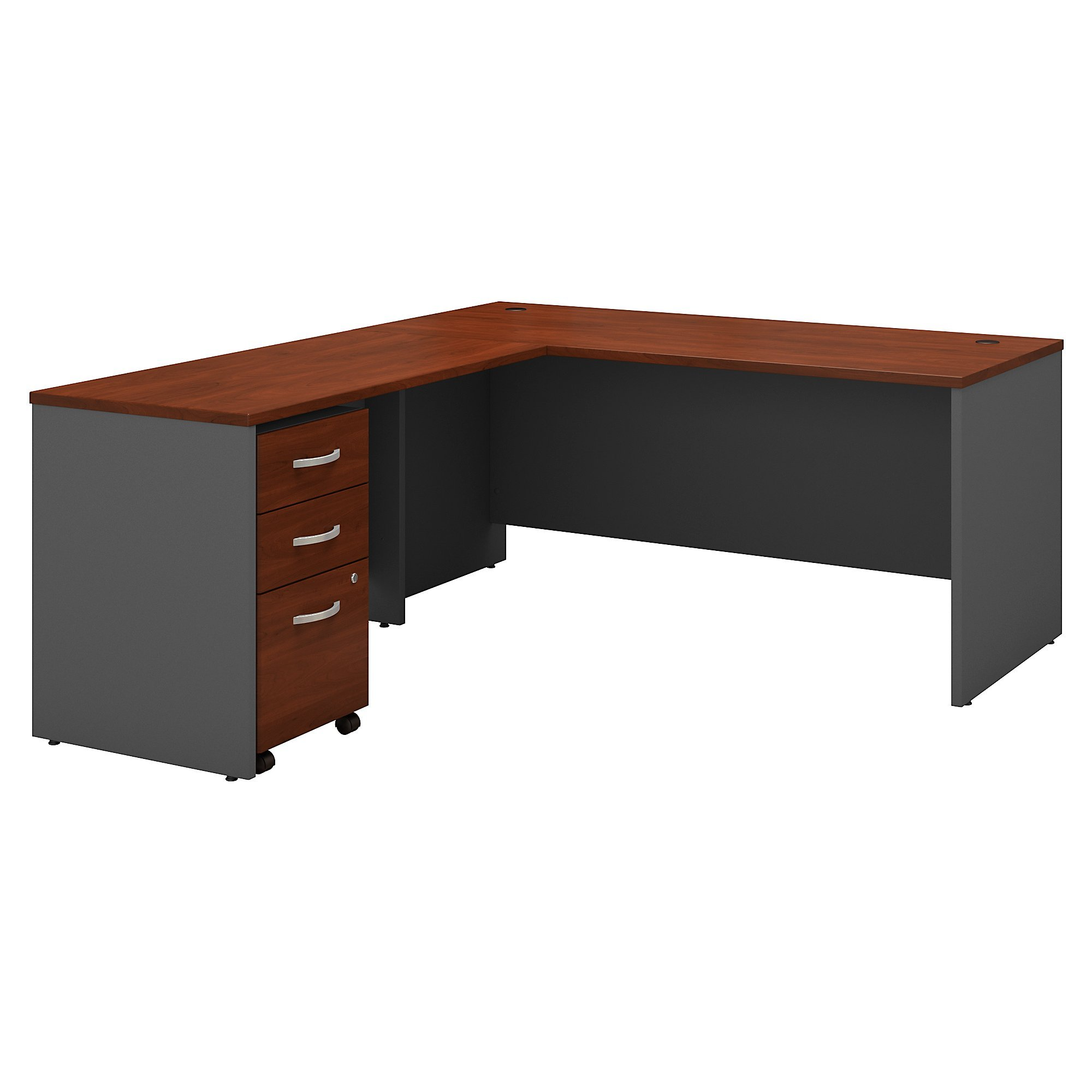 Bush Business Furniture Series C 66W L Shaped Desk with 48W Return and Mobile File Cabinet in Hansen Cherry
