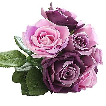 Amazon.com: jjh 9 rama rosas de seda flor de sobremesa ...