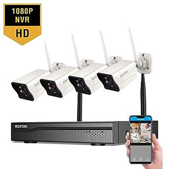 Sistema de cámaras de seguridad 8CH FullHD 1080P Grabador NVR con 4X 1920TVL 1080P Cámaras vigilancia