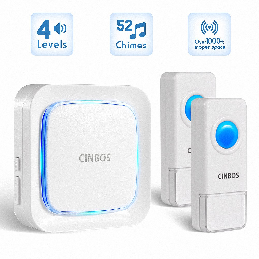 Wireless Doorbells Kit Cinbos Wireless Doorbell for Home LED Light with 1 Receiver and 2 Remote Push Buttons Waterproof,1000 Feet Long Range, 52 Chimes, 4 Levels Volume (B21-2T1-W)