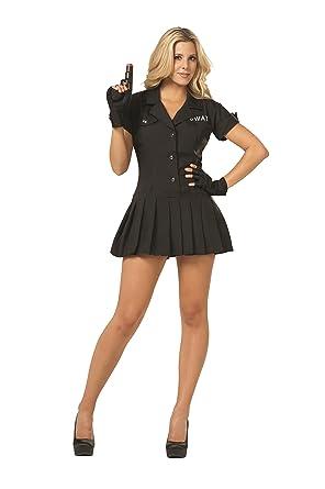 SWAT Girl - Disfraz de Vestido Negro para Adulto 6-8: Amazon.es ...