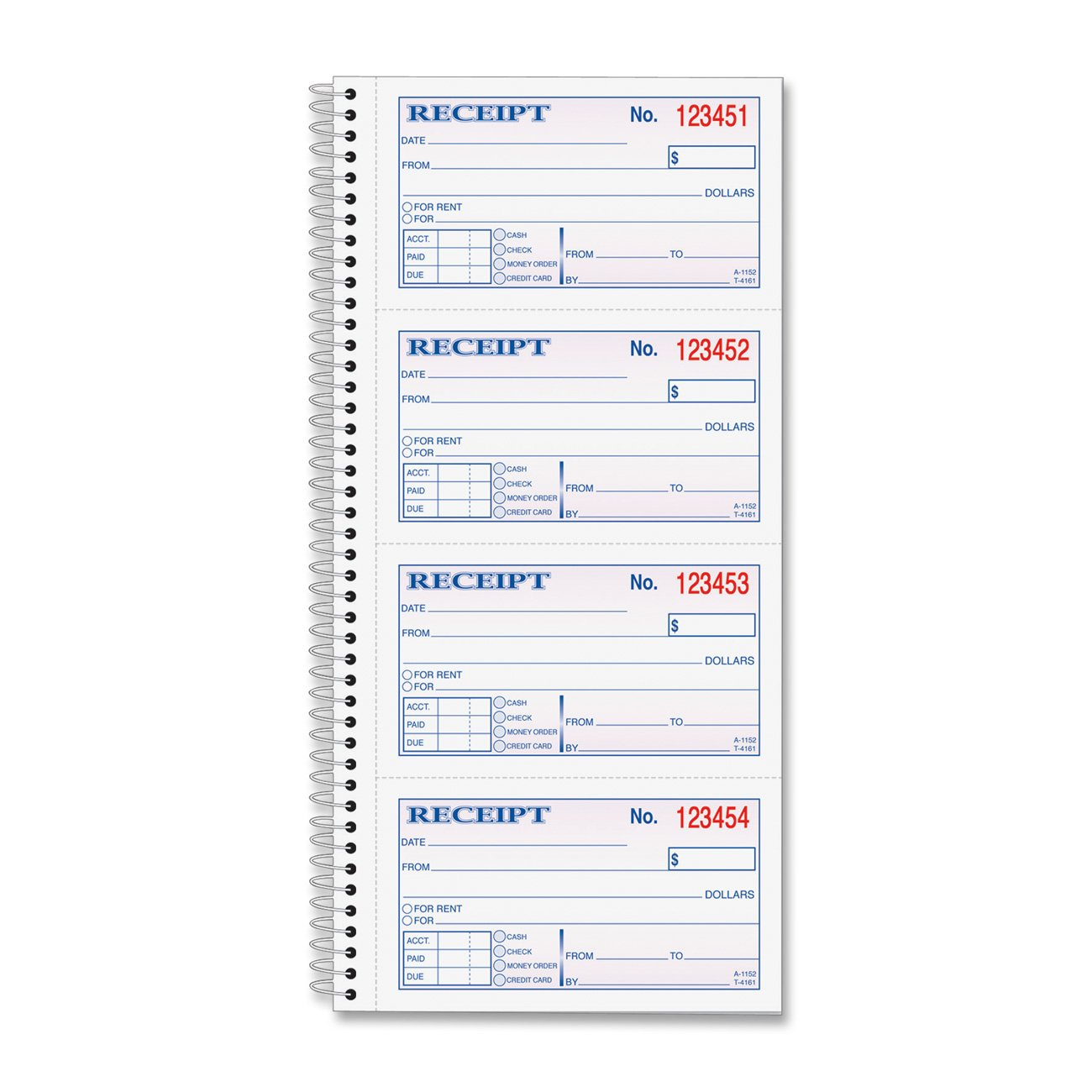 com tops money rent receipt book part carbonless  com tops money rent receipt book 2 part carbonless 11 x 5 25 inches 4 receipts page 200 sets per book 4161 blank receipt forms office