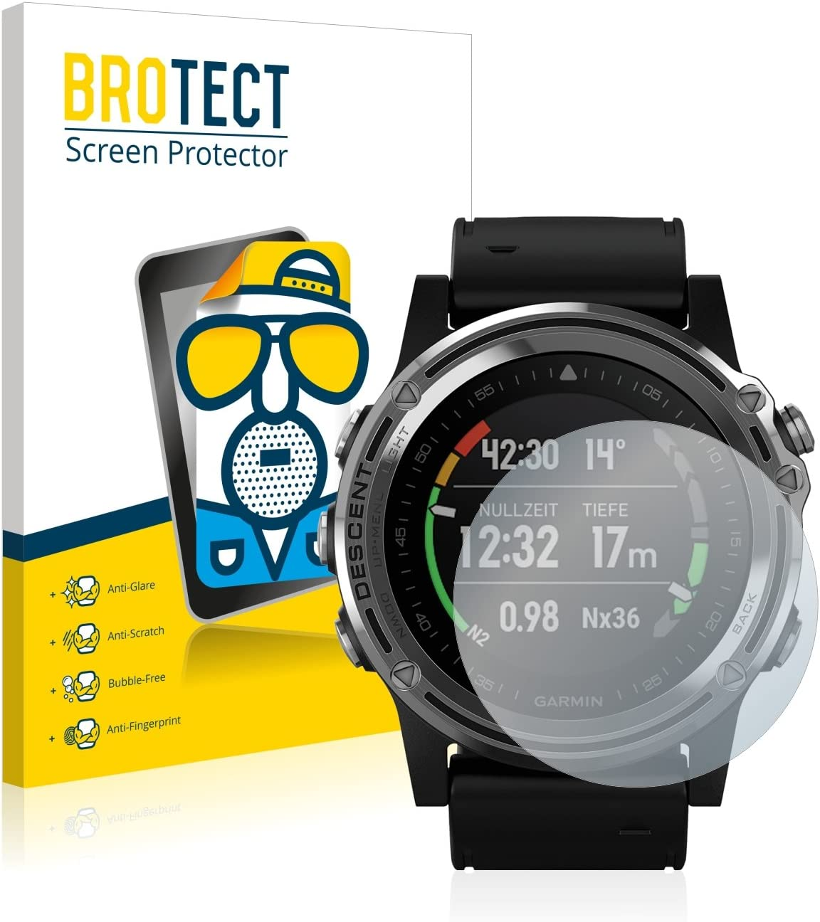 BROTECT Protector Pantalla Anti-Reflejos Compatible con Garmin Descent Mk1 (2 Unidades) Pelicula Mate Anti-Huellas