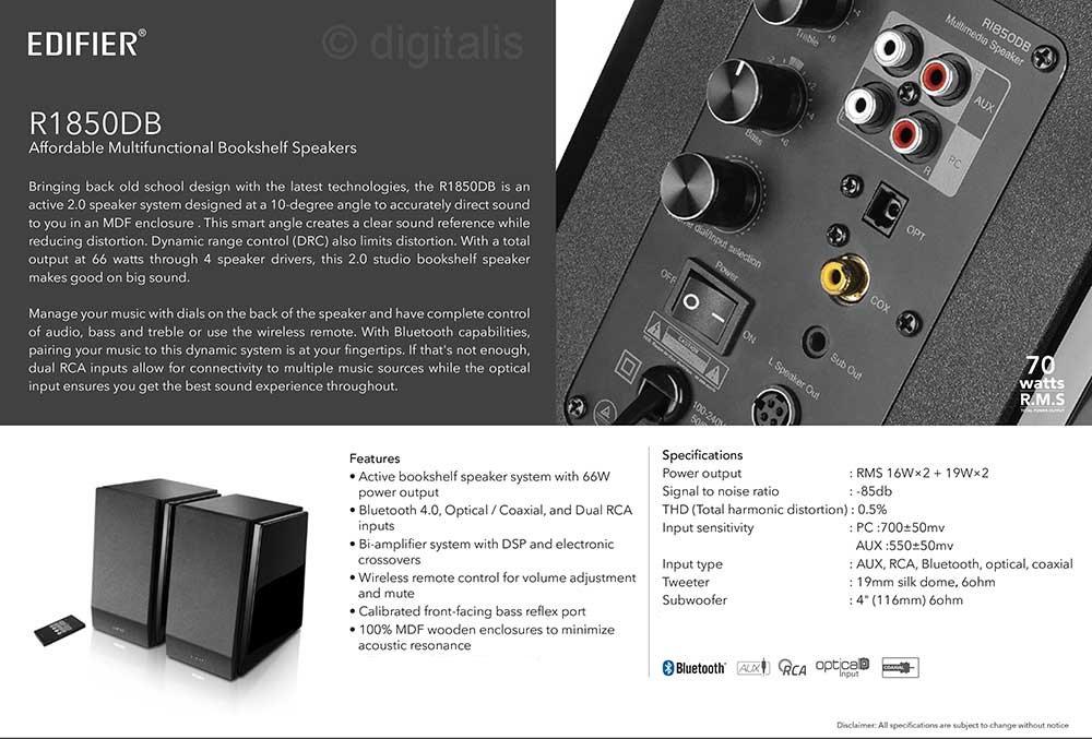 Edifier R1850DB Active Bookshelf Studio Speakers with Bluetooth ...